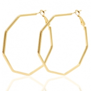 Trendy earrings octagon Gold (nickel free)