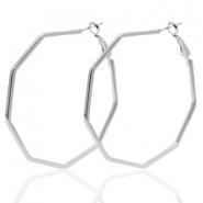 Trendy earrings octagon Silver (nickel free)