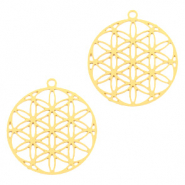 Bohemian charms round Gold (nickel free)