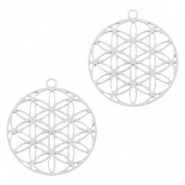 Bohemian charms round Silver (nickel free)