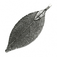 Charm with 1 loop metal leaf Antique Silver (nickel free)