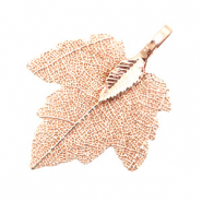 Charm with 1 loop metal leaf Rose Gold (nickel free)