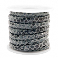 Stitched faux leather 6x4mm Snake Anthracite Grey