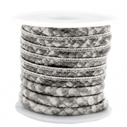 Stitched faux leather 6x4mm Snake Grey