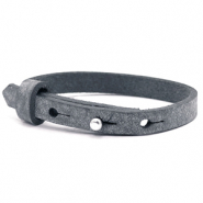 Leather Cuoio kids bracelet 8mm for 12mm cabochon Anthracite black