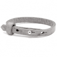 Leather Cuoio kids bracelet 8mm for 12mm cabochon Concrete Grey