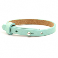 Leather Cuoio kids bracelet 8mm for 12mm cabochon Bleached Aqua Blue
