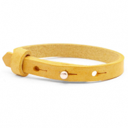 Leather Cuoio kids bracelet 8mm for 12mm cabochon Mineral yellow
