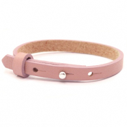 Leather Cuoio kids bracelet 8mm for 12mm cabochon Rose dawn pink