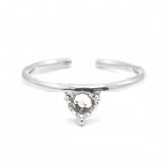 Must-have rings one stone Silver-Crystal (nickel free)