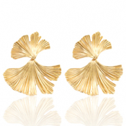 Trendy earrings Ginkgo leave Gold (nickel free)