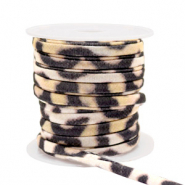 Stitched elastic ribbon leopard Beige-Brown