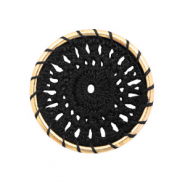 Crochet pendants round 33mm Gold-Black
