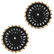 Crochet pendants round 22mm Gold-Black