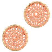 Crochet pendants round 22mm Gold-Peachy Orange