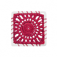 Crochet pendants square Silver-Port Red