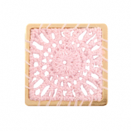 Crochet pendants square Gold-Light Pink