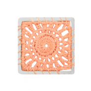 Crochet pendants square Silver-Peachy Orange
