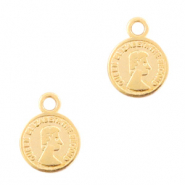 DQ European metal charms coin 8mm Gold (nickel free)