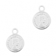 DQ European metal charms coin 8mm Antique Silver (nickel free)