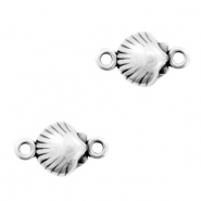 DQ European metal charms connector shell Antique Silver (nickel free)