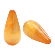 Polaris Elements drop shaped beads Mosso shiny Caramel Yellow