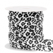 Elastic ribbon leopard White-black