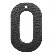 Faux leather pendants oval Black