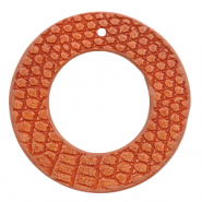 Faux leather pendants round crocodile Coral Red