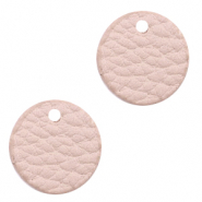 Faux leather pendants round Vintage Pink