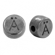 DQ European metal letter beads Ä Gunmetal (nickel free)