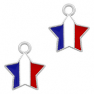 Metal charms star Silver-Red White Blue
