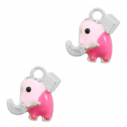 Metal charms elephant Silver-Pink