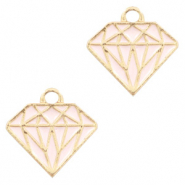 Metal charms diamond Gold-Pink