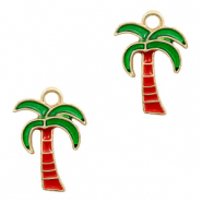Metal charms palmtree Gold-Red Green