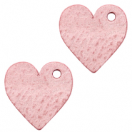 DQ European leather charms heart Pressed Rose Red