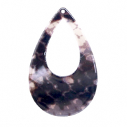 Resin pendants drop 57x36mm snake shiny Brown-Grey
