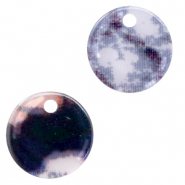 Resin pendants round 12mm snake shiny Grey-Dark Blue