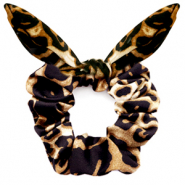 Scrunchie hair tie leopard print bow Black-Brown