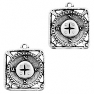 DQ European metal charms compass Antique Silver (nickel free)