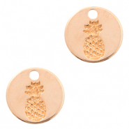 DQ European metal charms pineapple round 13mm Rose Gold (nickel free)