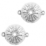 DQ European metal charms connector urchin round 15mm Antique Silver (nickel free)