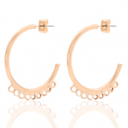 DQ European metal findings creole earrings 30mm with loops Rose Gold (nickel free)
