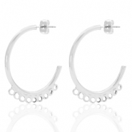 DQ European metal findings creole earrings 30mm with loops Antique Silver (nickel free)