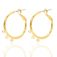 DQ European metal findings creole earrings 26mm with loops Gold (nickel free)