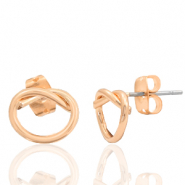 DQ European metal findings earrings knot Rose Gold (nickel free)