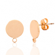 DQ European metal findings earpin round 10mm with loop Rose Gold (nickel free)