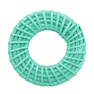 Braided rattan pendants round 40mm Turquoise Green