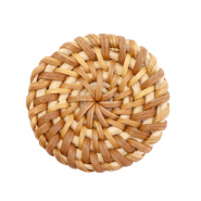Braided rattan pendants round 35mm Natural Brown