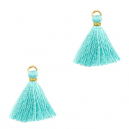 Tassels 1.5cm Gold-Tiffany Blue